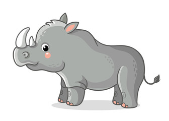 Rhinoceros stands on a white background. Cute animal in the cartoon style. Vector illustration on a children's theme.