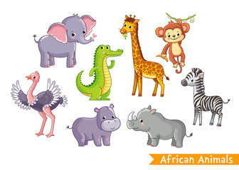 Set with animals of Africa in cartoon style. Vector illustration on a children's theme.