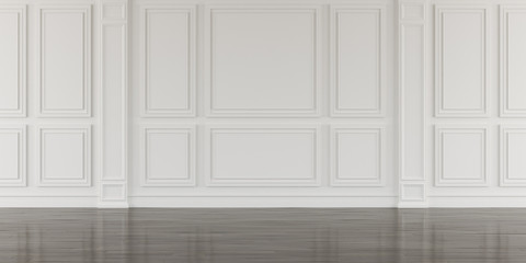 Perspective of white empty room and dark laminate floor,classic interior style.blank space architecture.3d rendering