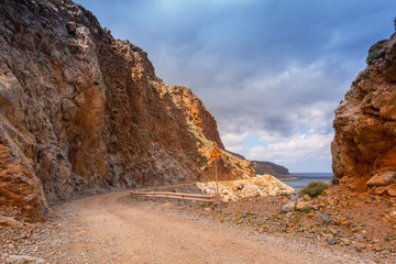 Rocky off road on Crete on the way to Balos beach, Greece