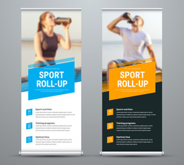 Templates of vector white and black roll-up banners on the theme of sport and sports nutrition, with a place for photos.