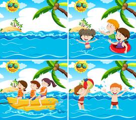 Set of various beach scene