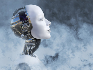 3D rendering of female robot head surrounded by smoke.