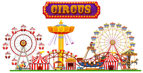 A Circus Fun Fair on White Background