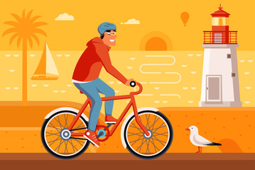 Smiling man on bicycle driving on summer beach background. Cyclist guy riding red bike on the sea side road. Summer bike travel concept illustration with bicyclist driving on seashore by sunset.
