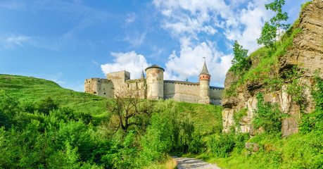 Southern side of medieval Kamianets-Podilskyi fortress from canyon, Ukraine