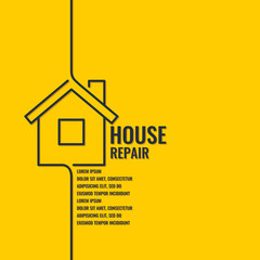 Home repair. The original poster in a flat linear style.