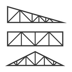 Roof Metal Trusses Constructions Set on White Background. Vector