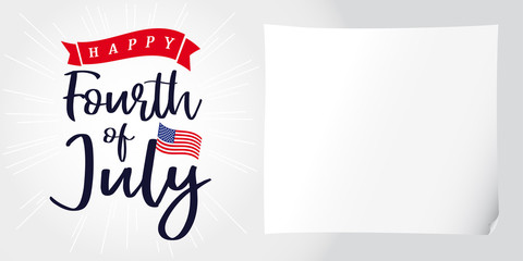 Happy 4th of July, Independence Day of USA, lettering and light beams poster. Happy Independence Day United States of America vector calligraphic design. Fourth of July sale illustration