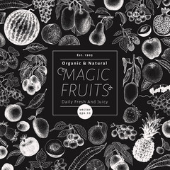 Fruits and berries vector background on chalk board. Hand drawn food illustrations. Retro engraved style banner design. Can be use for menu, label, packaging, farm market products.