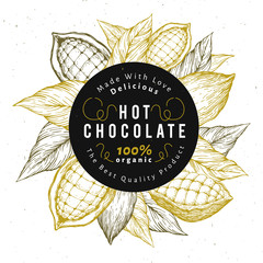 Cocoa bean tree design template. Chocolate cocoa beans logo. Vector hand drawn illustration. Vintage style background.