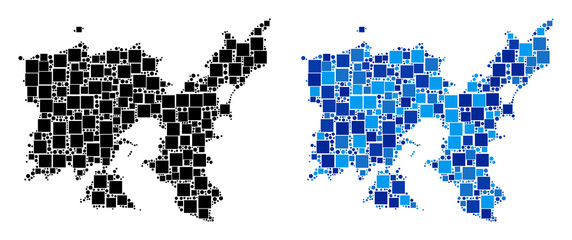 Wall Murals Pixel Dotted Limnos Greek Island map versions. Abstract geographic map variant done with blue color tones. Vector mosaic of Limnos Greek Island map constructed from random rectangle and circle parts.