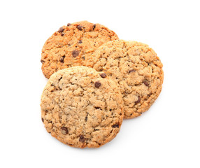 Delicious oatmeal cookies on white background