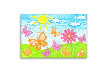 Colored pencils drawing, author's design illustration. Summer motif canvas