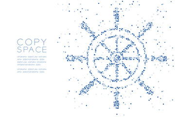 Abstract Geometric Square box pixel pattern Ship Steering Wheel shape, aquatic and marine life concept design blue color illustration on white background with copy space, vector eps 10