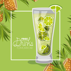 cocktail free drink tomorrow vector illustration design