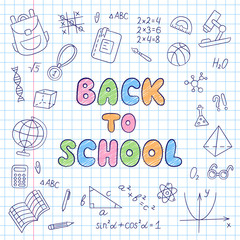 Back to school. Lettering. Notebook in a cage. Set of school elements in doodle and cartoon style.