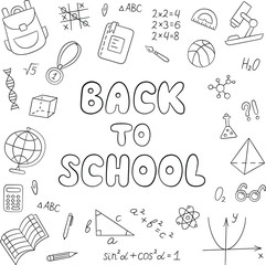 Back to school. Lettering. Linear. Black and white. Set of school elements in doodle and cartoon style. Vector. EPS 10