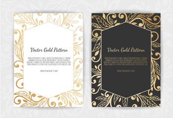 Gold vintage greeting card on a black background.