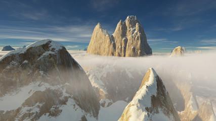 Patagonia peaks 3D rendering