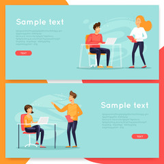 Meeting, teamwork, office life, business. Flat design vector illustration.