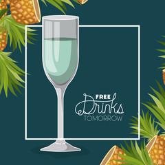 free drinks tomorrow label vector illustration design