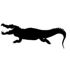 black silhouette of a crockodile. isolated vector illustration