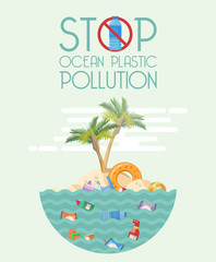 Stop ocean plastic pollution vector illustration in flat design