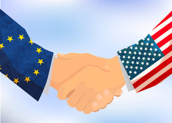 USA and European Union handshake, concept illustration on blue sky