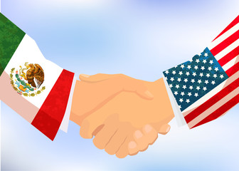USA and Mexico handshake, concept illustration on blue sky