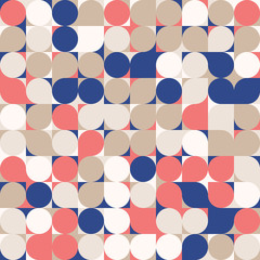 Navy blue, coral red and gold colors. Random colored abstract geometric mosaic pattern background