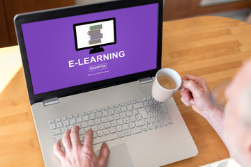 E-learning concept on a laptop