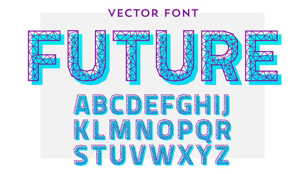 Vector font made of polygonal letters. Latin alphabet from A to Z made of lines and wires connected to each other in geometric shapes.