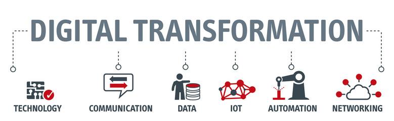 Banner digital transformation vector illustration Concept
