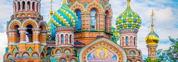 Foto op Canvas Historisch geb. Church of the Savior on Spilled Blood, St Petersburg Russia