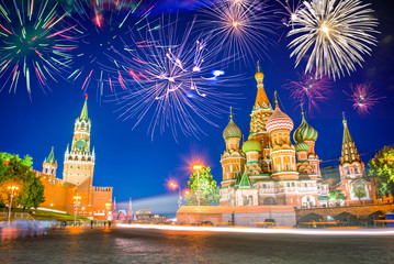 Fireworks over St Basil's cathedral and Kremlin on Red Square at night, Moscow, Russia