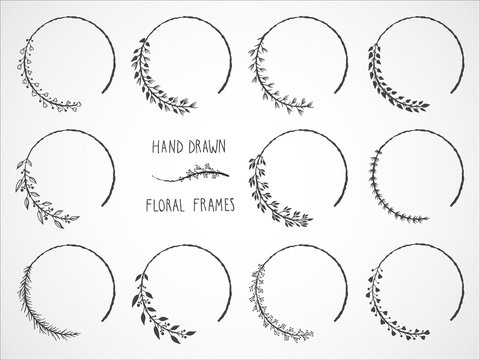 Vector set of floral hand drawn frames and decorative elements.