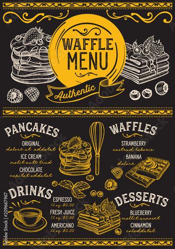 waffles and crepes restaurant menu vector pancake food flyer for