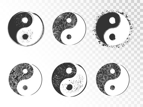 Vector set of hand drawn yin yang signs with grunge and floral elements.