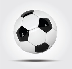 Realistic soccer ball or football ball on white background. 3d Style vector Ball on white background