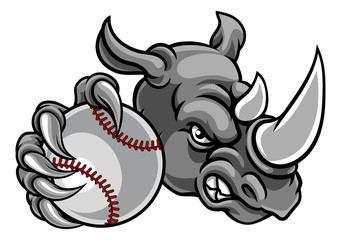 Rhino Baseball Ball Sports Mascot