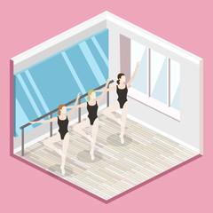 Isometric flat 3D isolated vector cutaway interior empty training dance-hall