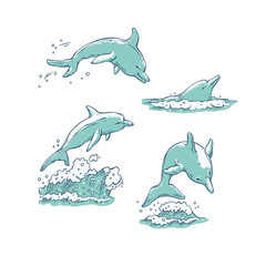 Vector set dolphins jumping dive and swim. Monochrome sketch sea animals isolated on white background for dolphinarium or oceanarium tourist cards or banners design.