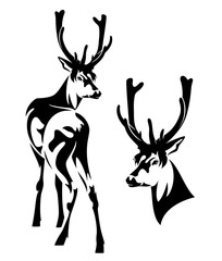 standing deer outline and head black and white vector design