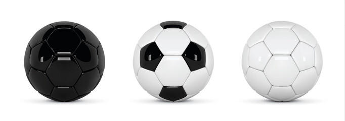Set of realistic soccer balls or football ball on white background. 3d Style vector Ball. Soccer black and white balls