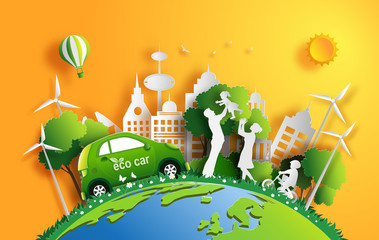 Paper art style of landscape with eco car and green city, family enjoy fresh air in the park, save the planet and energy concept, flat-style vector illustration.