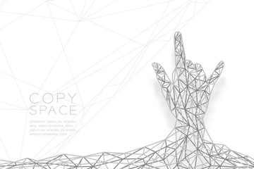 I love you Hand sign language shape back view wireframe Polygon silver frame structure, valentine concept design illustration isolated on black gradient background with copy space, vector eps 10