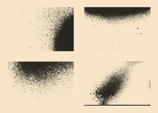 Vector set of splash stains textures. Monochrome abstract vector grunge textures.