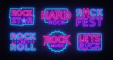 Rock Music Neon Signs Collection Vector. Design template neon signboard on Rock Music, Light banner, Bright Night Advertising, Design elements for Rock Music Festival, Concert. Vector