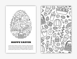 Card templates with hand drawn Easter items.